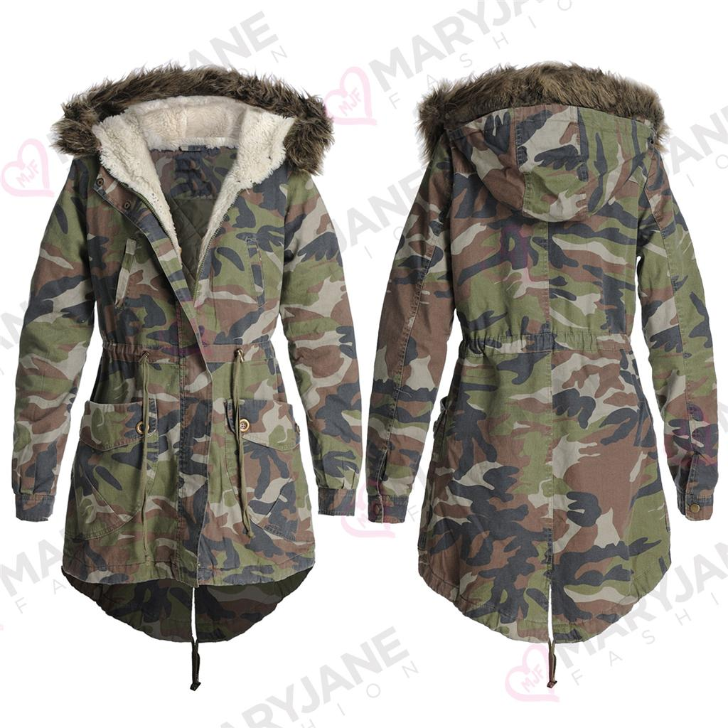New Womens Ladies Oversized Camo Fur Hood Fishtail Parka Coat ...