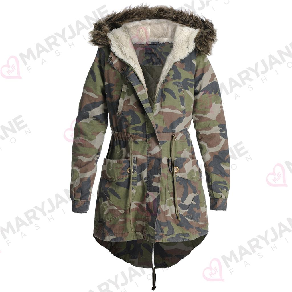 New Womens Ladies Oversized Camo Fur Hood Fishtail Parka Coat Jacket ... f8b9dcde1a
