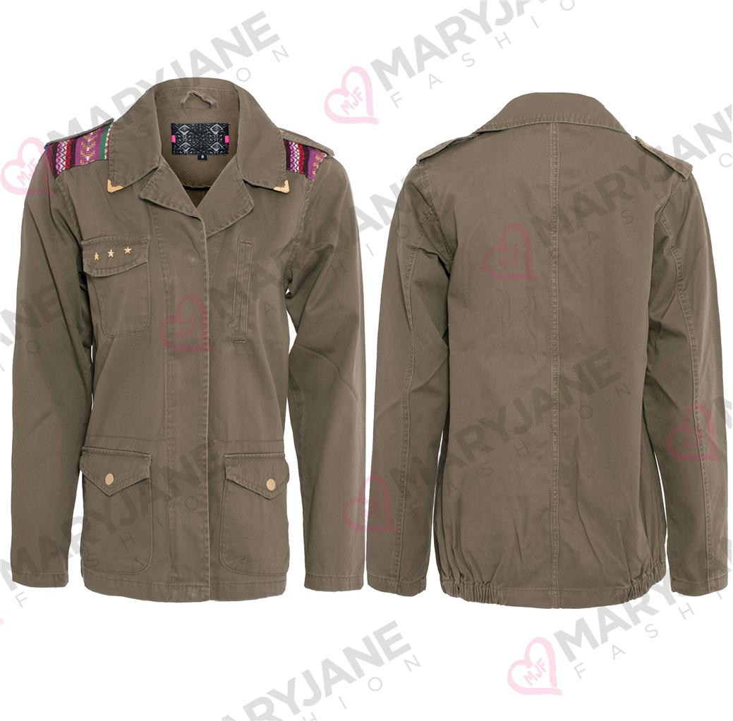 Womens ladies zip button up khaki military casual long for Khaki button up shirt