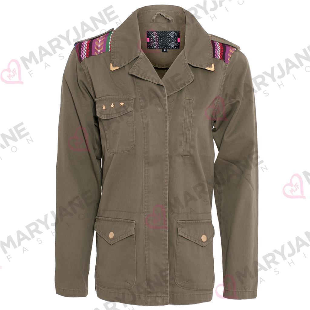 Womens Ladies Zip Button Up Khaki Military Casual Long