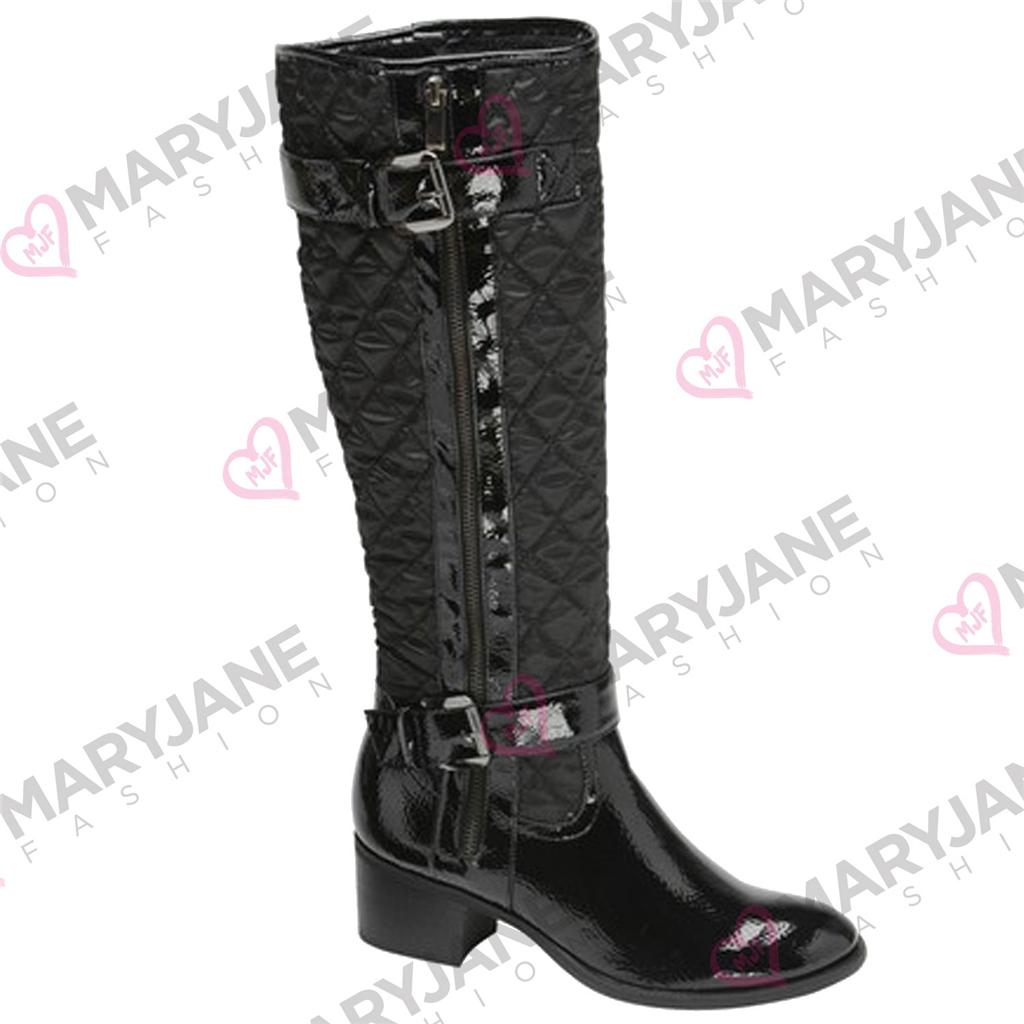 Womens Manfield Quilted Patent Leopard Knee Length Soft Lined Zip Up Boots 3-8