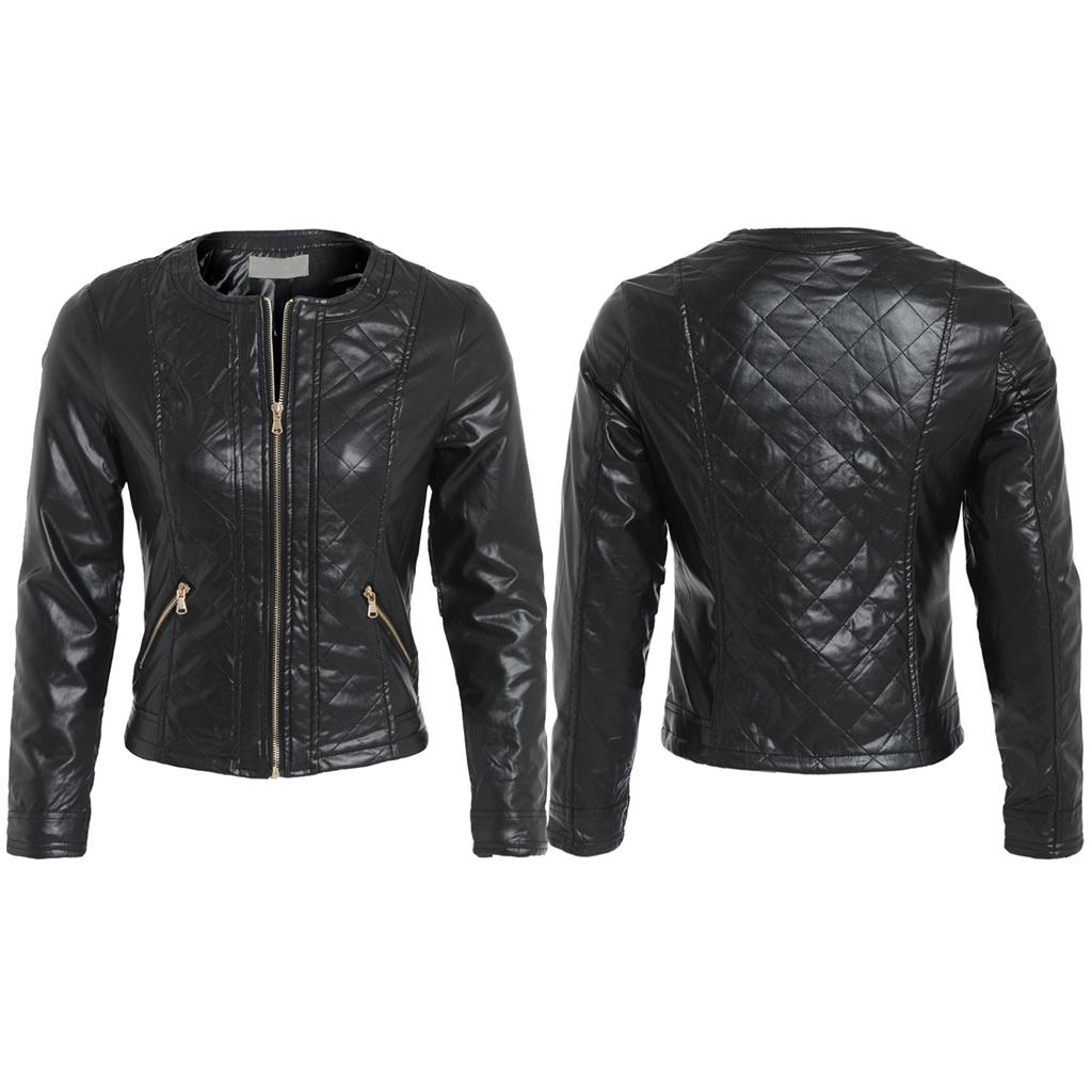 Womens Black Pu Faux Leather Collarless Scoop Neck Quilted Biker Jacket Coat 8 1