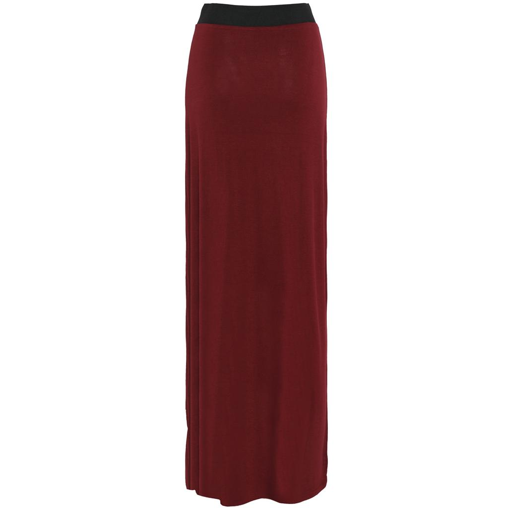 Ladies Womens Long Gypsy Dress Jersey Plain Straight Maxi Skirt ...