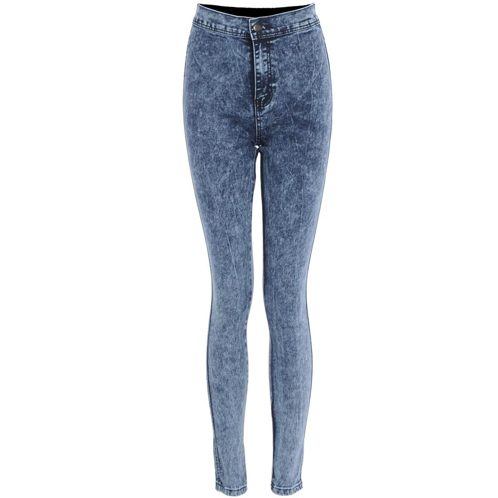 Womens Acid Wash Distressed Coloured High Waist Skinny Slim Fit ...