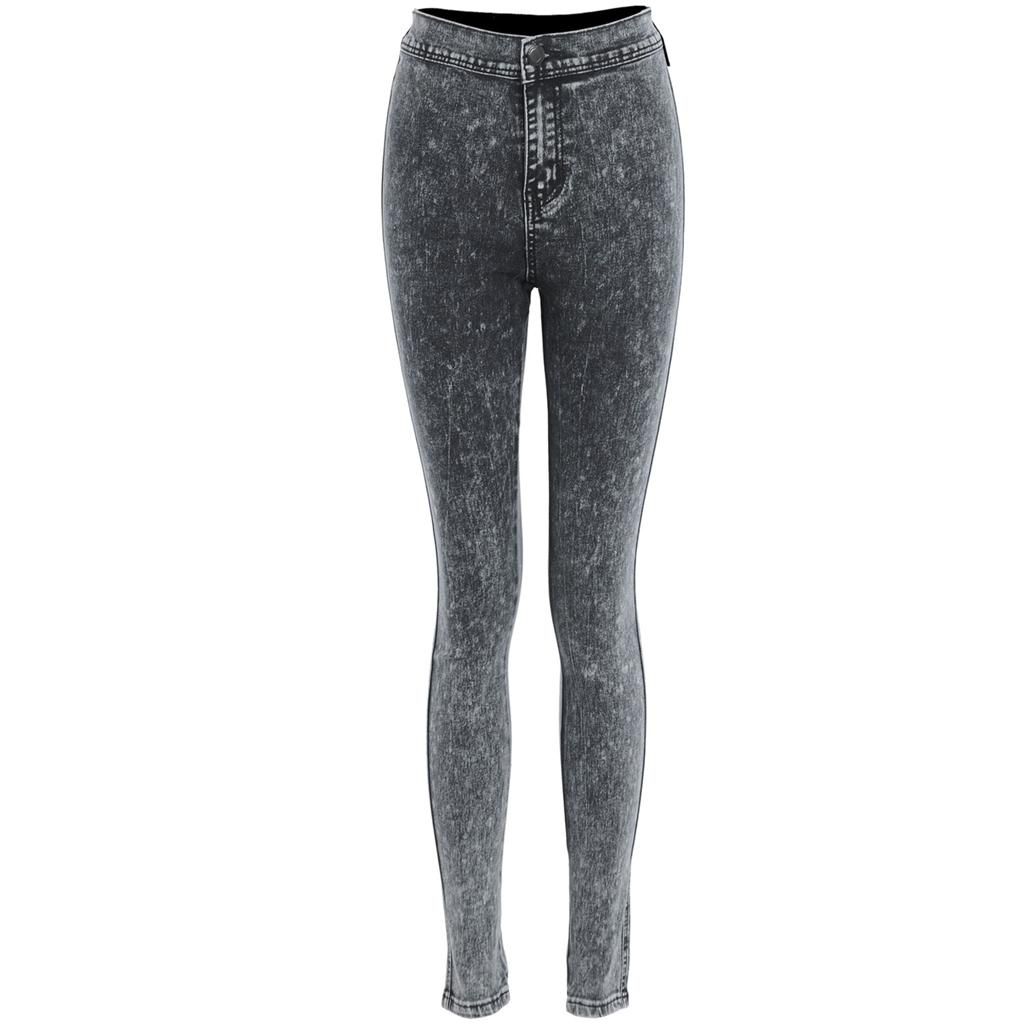 womens acid wash distressed coloured high waist skinny