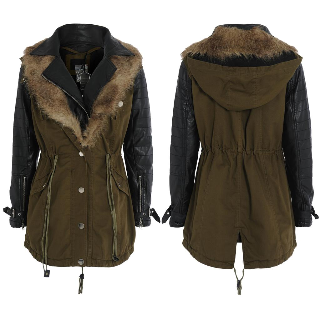 Ladies Leather Parka Coats | Down Coat