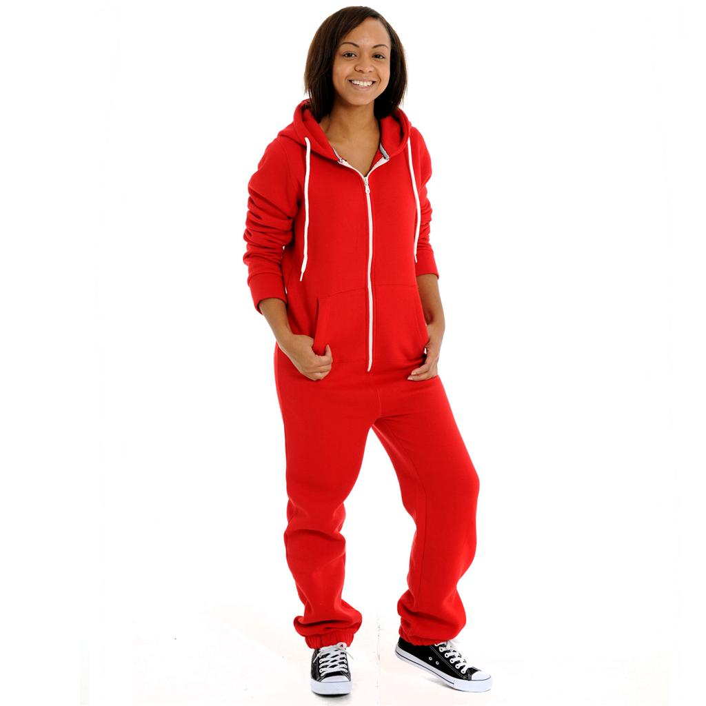 womens ladies adult plain colours onesie jumpsuit pyjamas. Black Bedroom Furniture Sets. Home Design Ideas