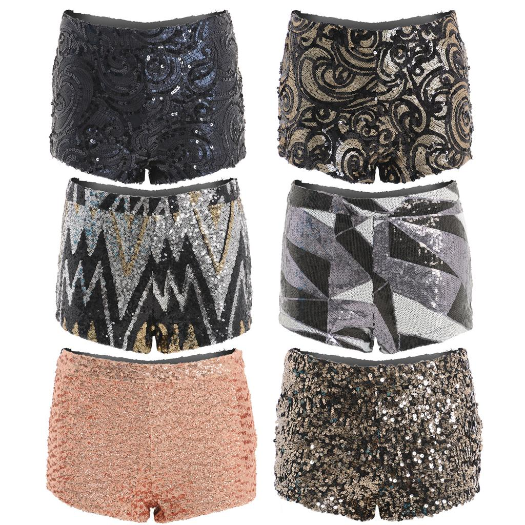 Ladies High Waisted Sequin Sparkly Party Bodycon Hotpants Shorts ...