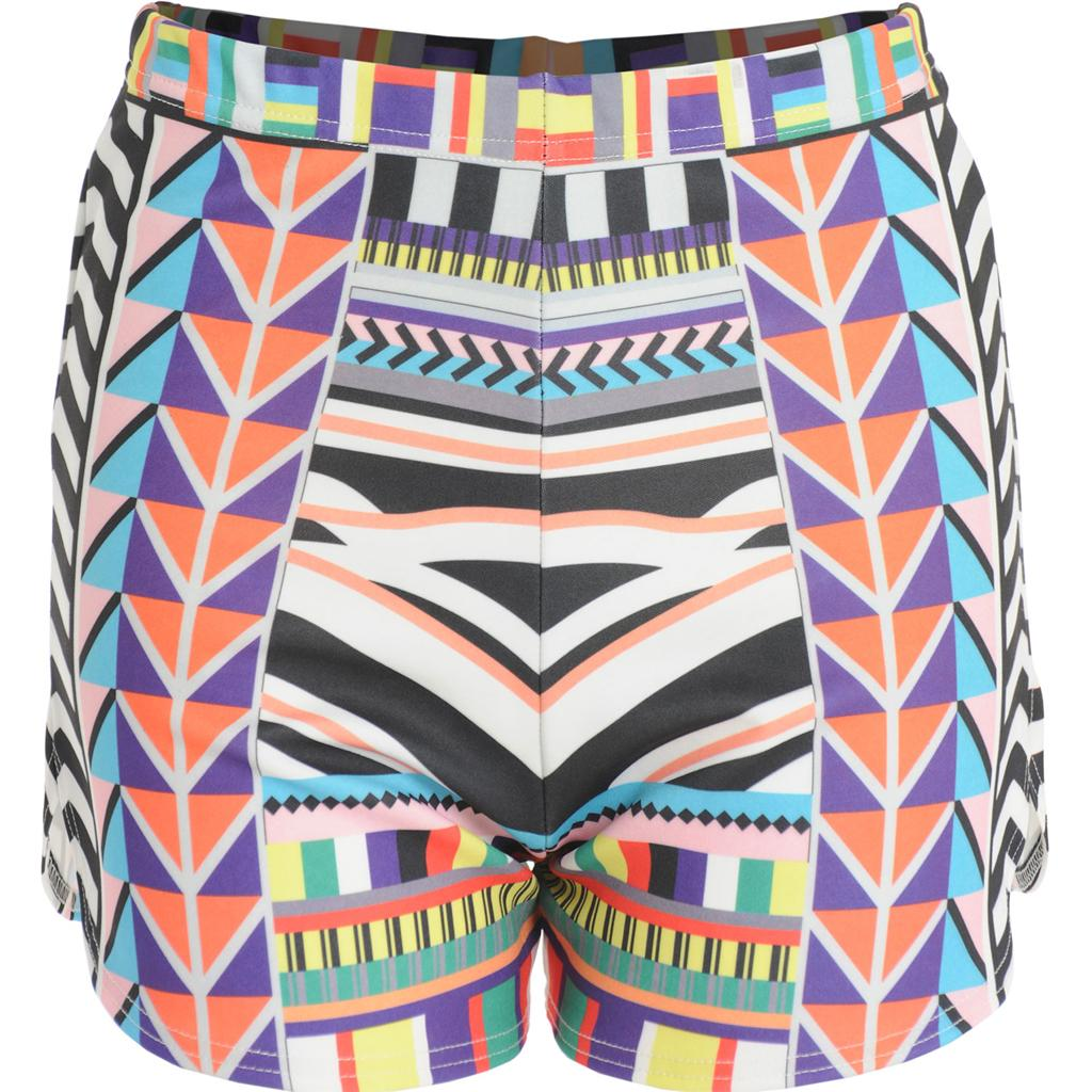 Womens-Ladies-Celeb-Jlo-Geometric-Tribal-Aztec-Print-High-Waist-Hot-Pants-Shorts
