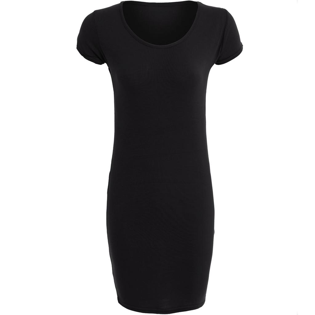 Black t shirt jersey dress - Womens Ladies Plain Jersey Scoop Neckline Long Fitted