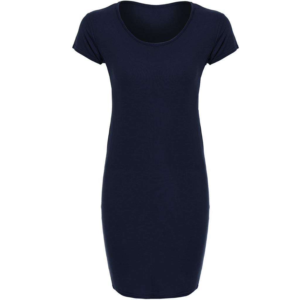 Womens Ladies Plain Jersey Scoop Neckline Long Fitted T