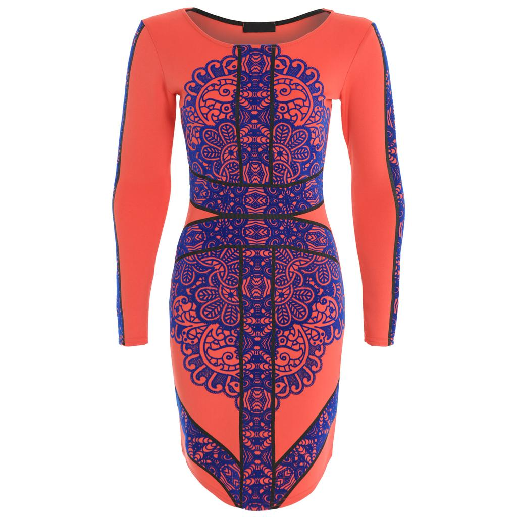 Womens Ladies Celeb Lauren TOWIE Three Floor Flocked Blue Lace Bodycon Fit Dress