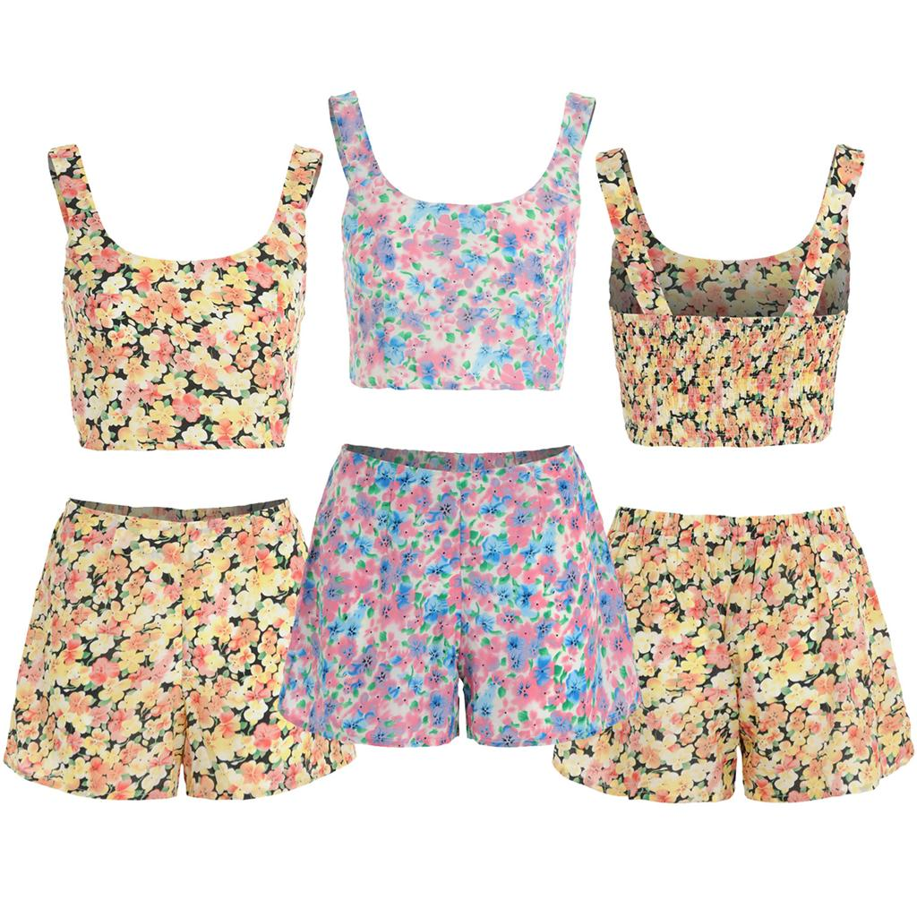 Womens-Ladies-Watercolour-Wash-Floral-Print-Crop-Top-Shorts-Two-Piece-Co-ord-Set