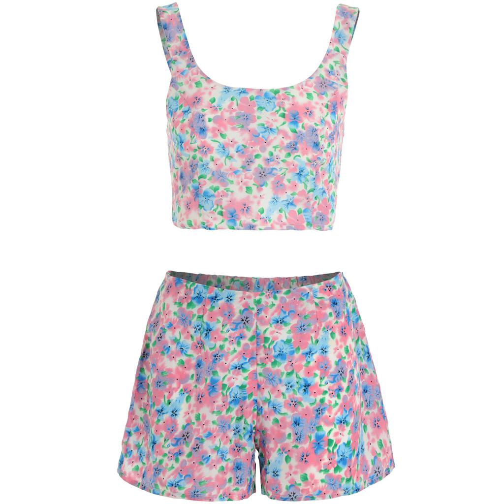 Womens-Ladies-Watercolour-Wash-Floral-Print-Crop-Top-Shorts-Two-Piece-Co-ord-Set thumbnail 2