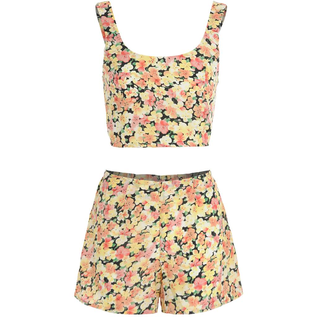 Womens-Ladies-Watercolour-Wash-Floral-Print-Crop-Top-Shorts-Two-Piece-Co-ord-Set thumbnail 3