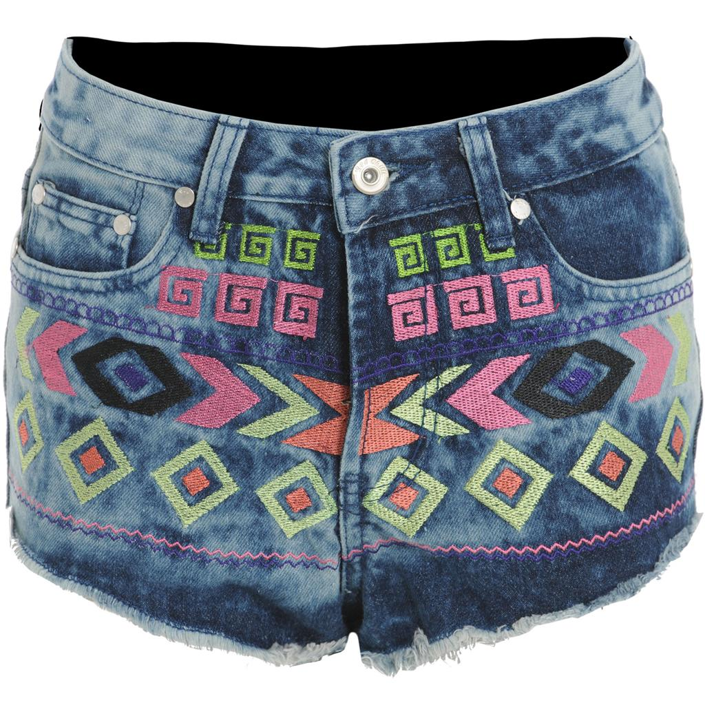 Womens-Ladies-Acid-Wash-Tribal-Aztec-Print-Pattern-Denim-Jean-Shorts-Hot-Pants