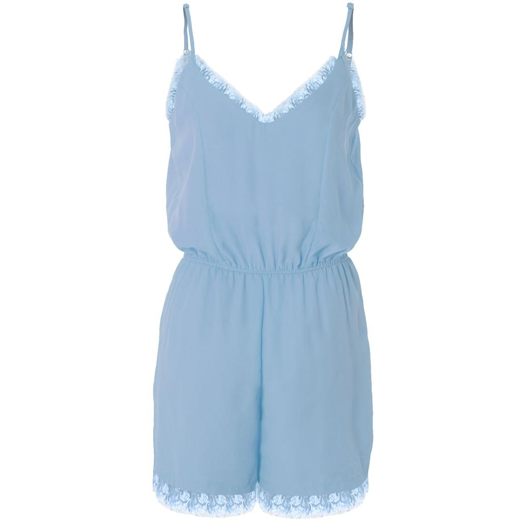Womens-Ladies-Pastel-Lace-Trim-Sweetheart-Neck-Chiffon-Strappy-Shorts-Playsuit thumbnail 2