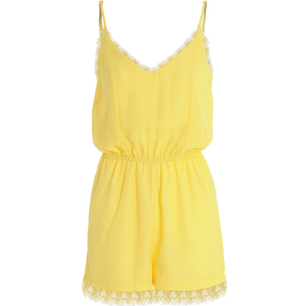 Womens-Ladies-Pastel-Lace-Trim-Sweetheart-Neck-Chiffon-Strappy-Shorts-Playsuit thumbnail 3