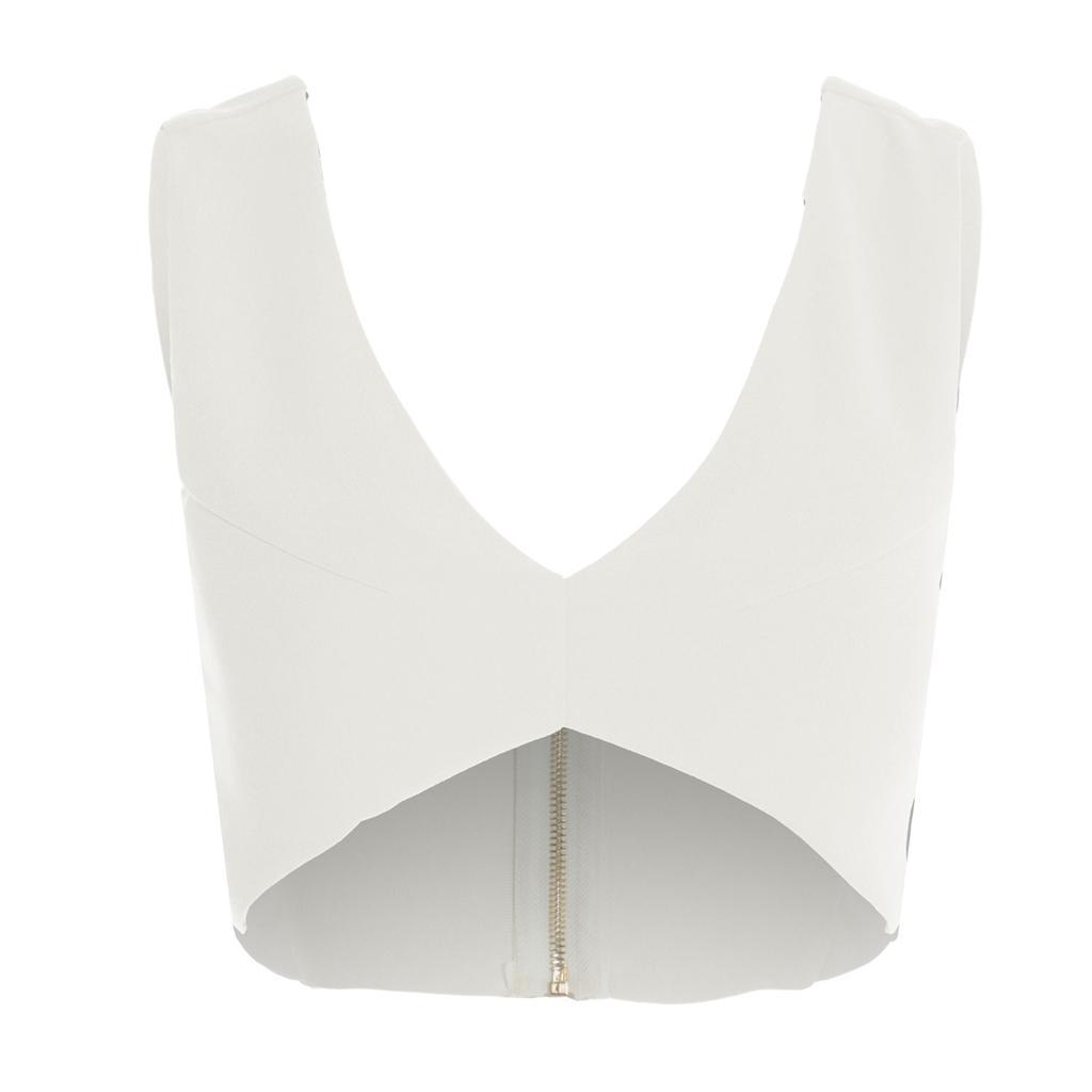 Womens Ladies Plain Crepe Zip Padded Low Neck Cutout Bralet Bra Cropped Top Vest
