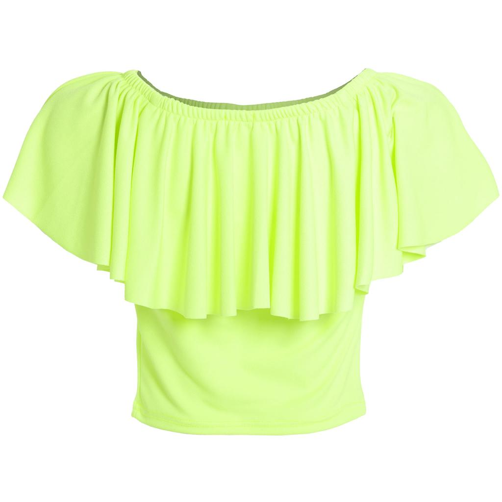 Womens Ladies Plain Neon Fluorescence Ruffle Frill OffShoulder Crop Tank Top Tee