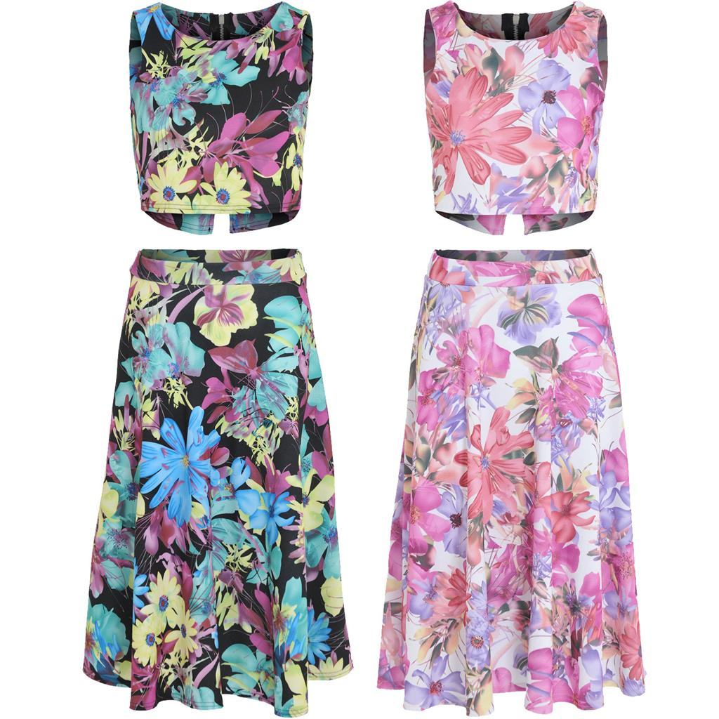 Womens-Ladies-Floral-Crop-Top-High-Waist-Circle-Midi-Skirt-Two-Piece-Co-ord-Set