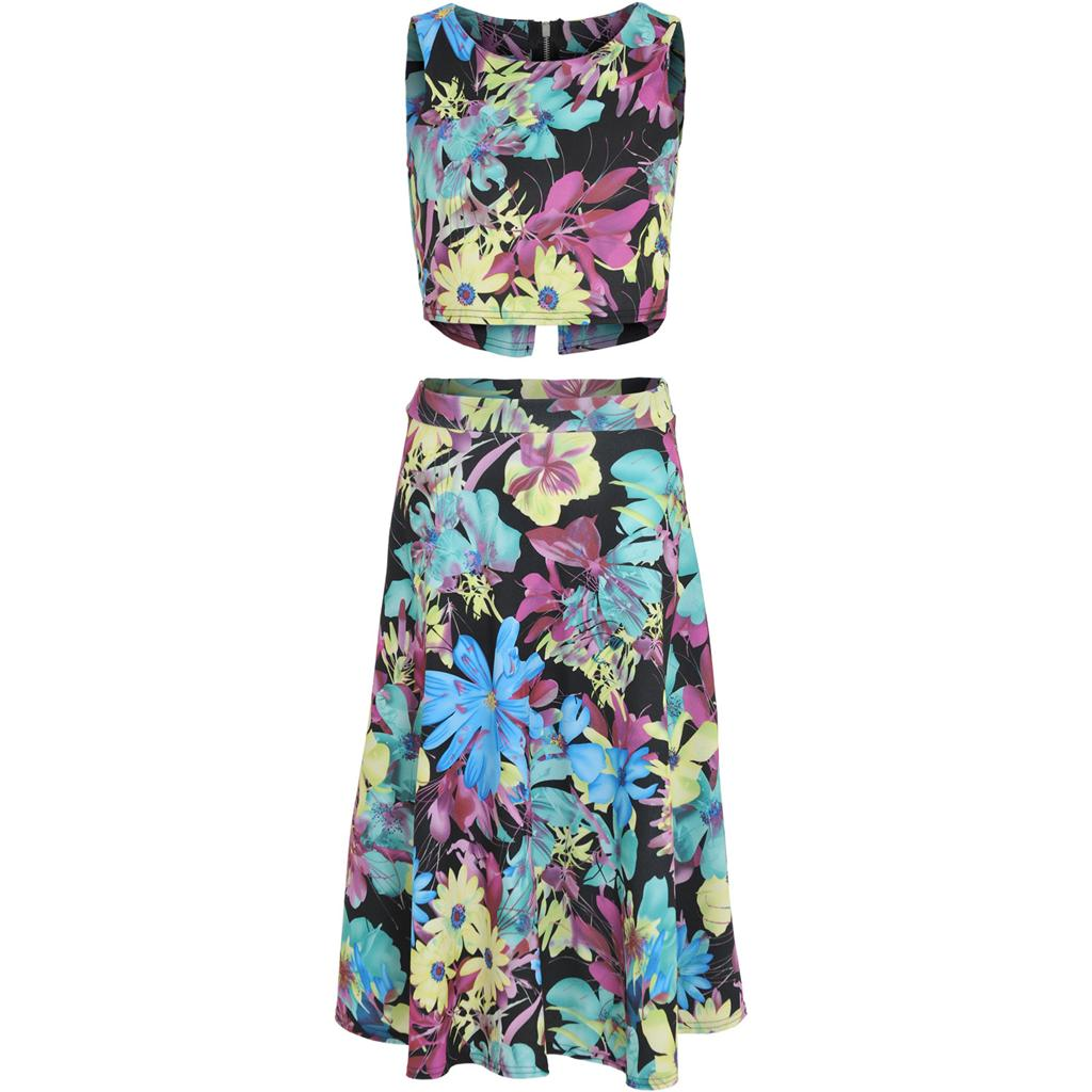 Womens-Ladies-Floral-Crop-Top-High-Waist-Circle-Midi-Skirt-Two-Piece-Co-ord-Set thumbnail 2