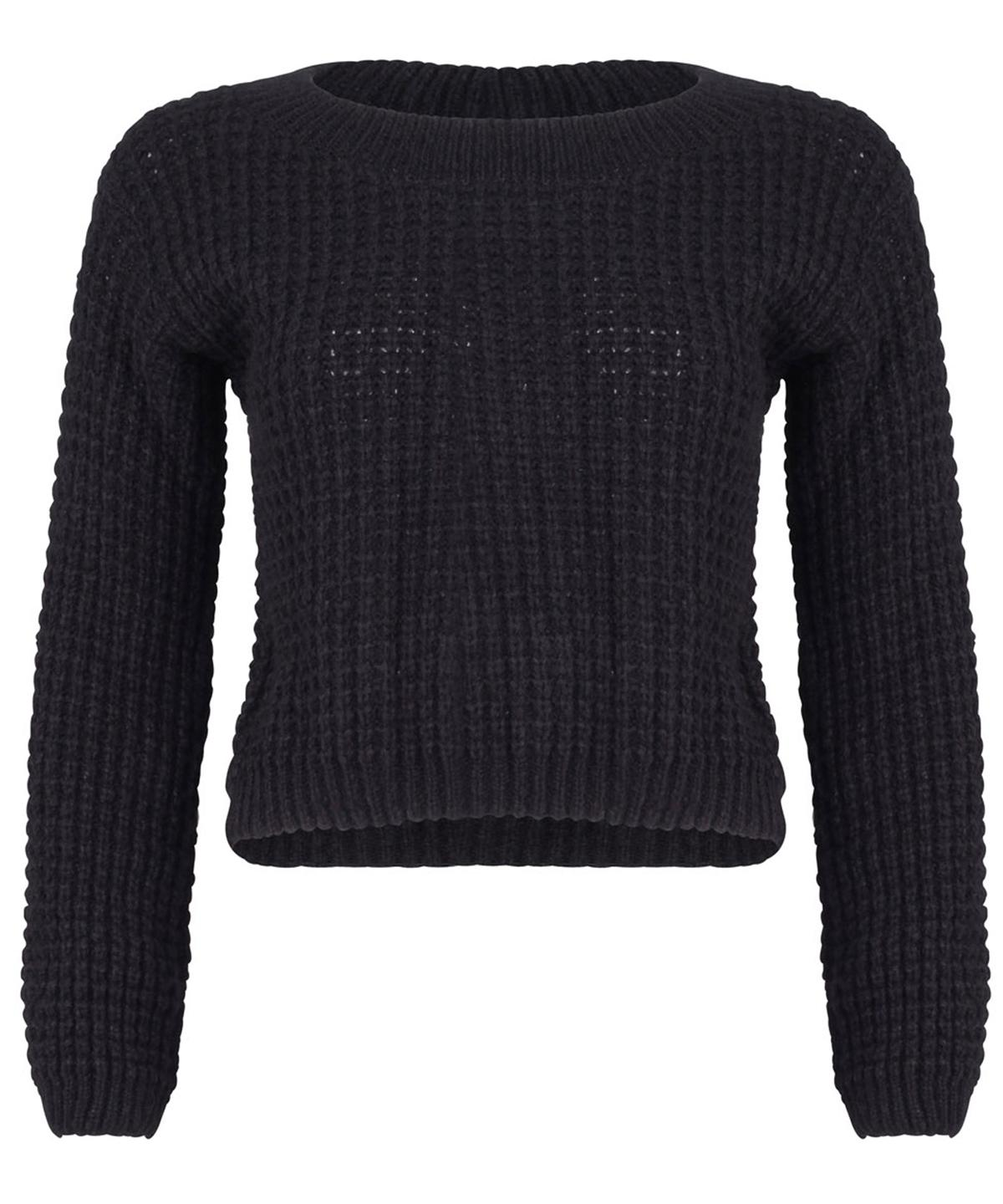 NEW Womens Ladies Waffle Cable Knit Cropped Long Sleeve JUMPER Sweater 8 10 12 1