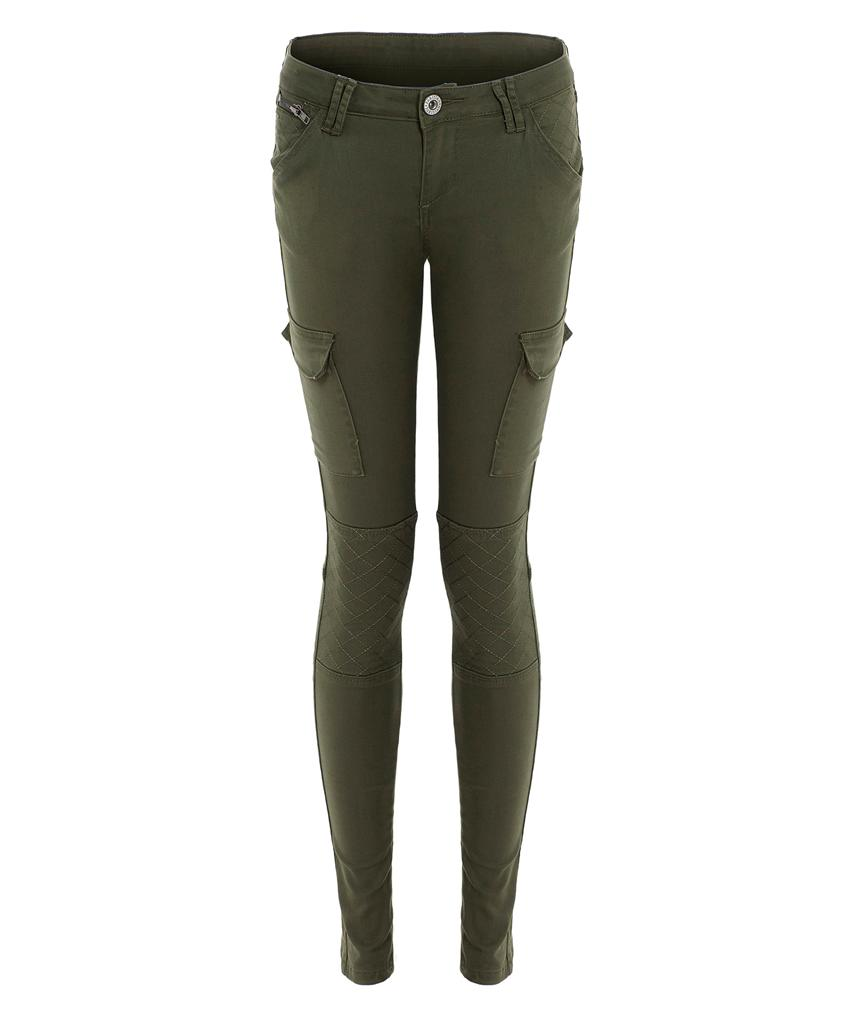 NEW Womens Ladies Khaki Skinny Fit Quilted Knee Combat Pant SIZE UK 6 8 10 12 14