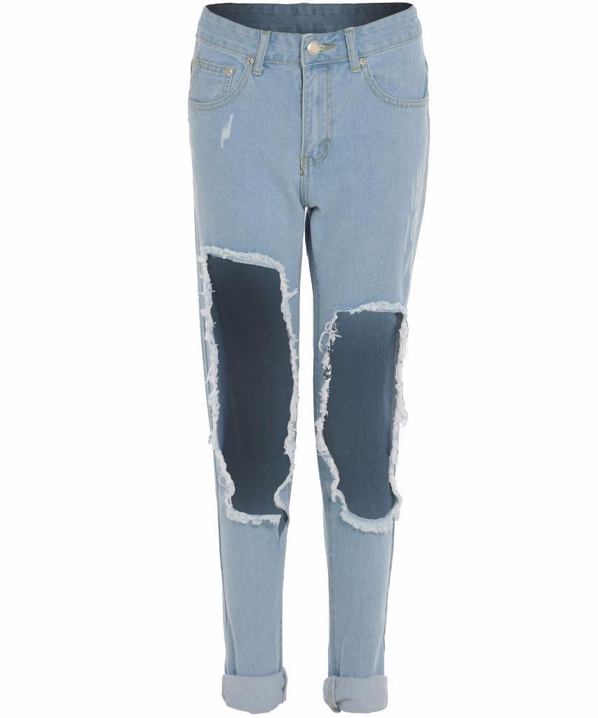 neu damen promi kardashian extreme zerrissen knie leg denim mum mama jeans ebay. Black Bedroom Furniture Sets. Home Design Ideas