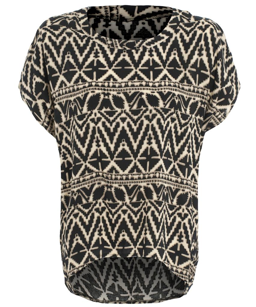View Item Blurred Aztec Print Oversized Top