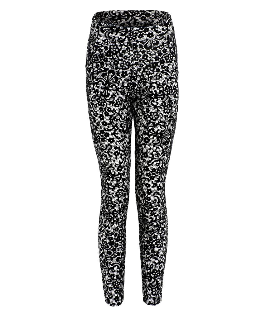 View Item Flocked Print Skinny Pants
