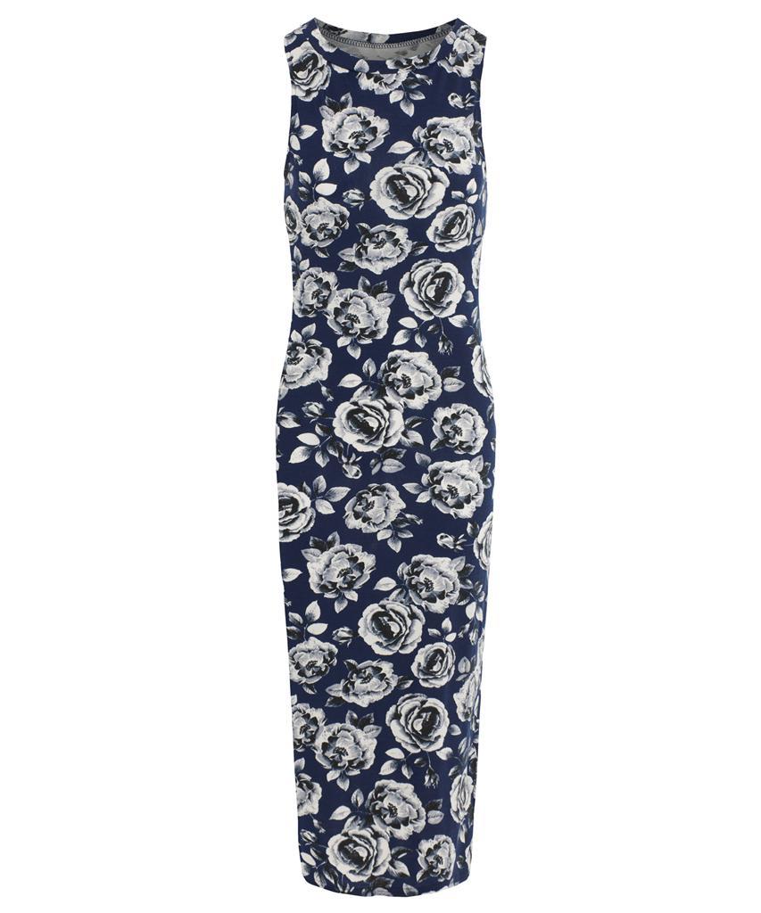 View Item Floral Rose Print Bodycon Midi Dress