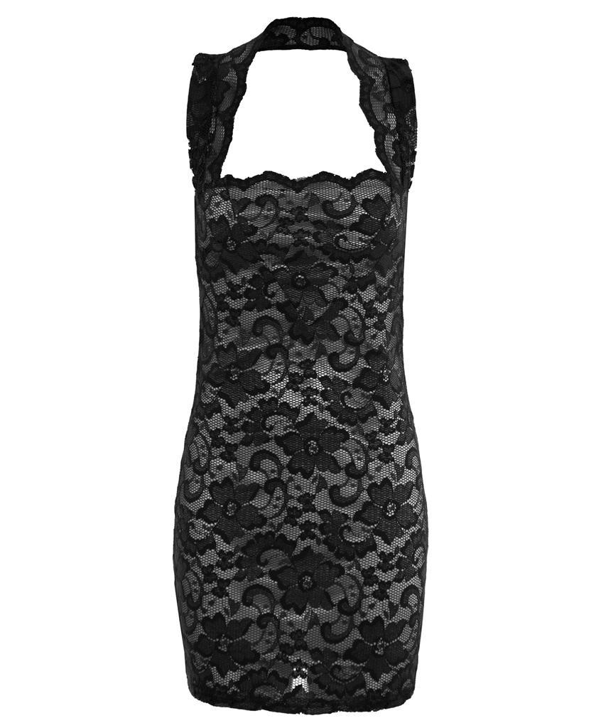 View Item Lace Halterneck Mini Bodycon Dress
