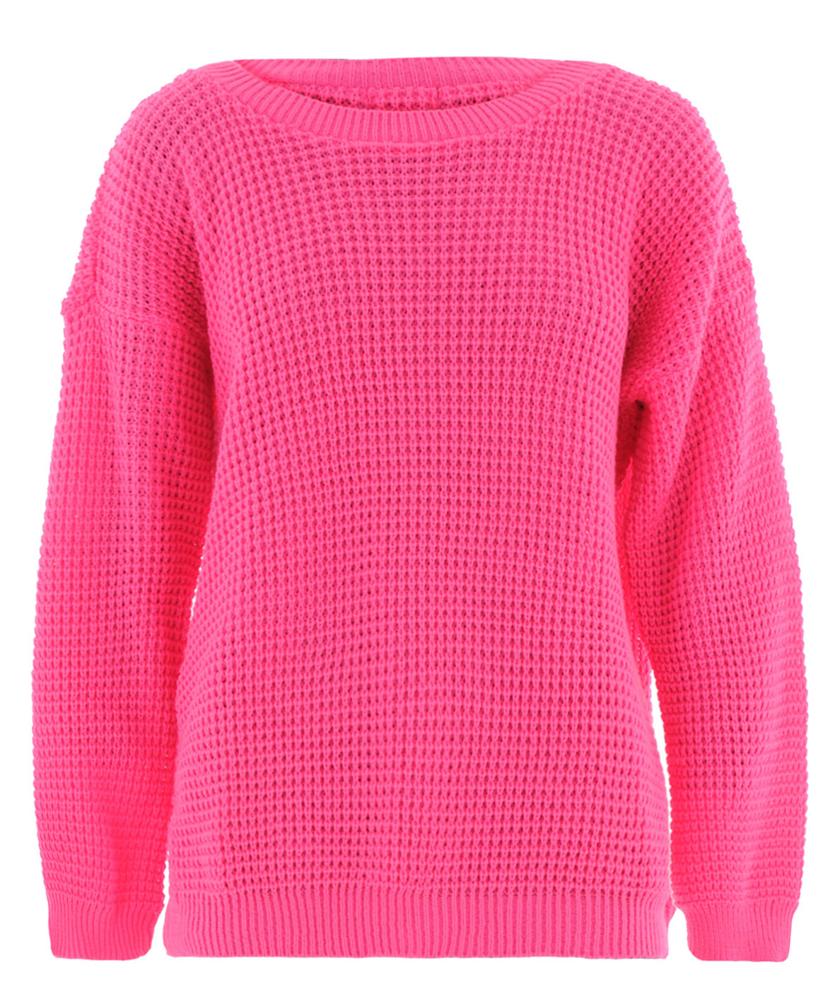 Ladies-Bright-Neon-Oversized-Waffle-Knit-Wide-Scoop-Neck-Sweater-Jumper-UK-8-14