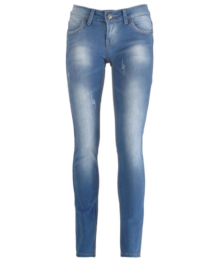 New Women Light Blue Wash Faded Distressed Skinny Slim Fit Denim ...
