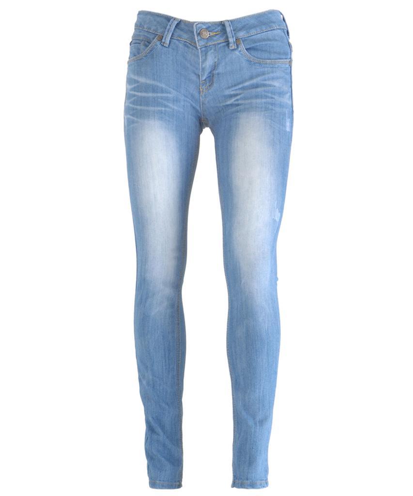 new women light blue wash faded distressed skinny slim fit