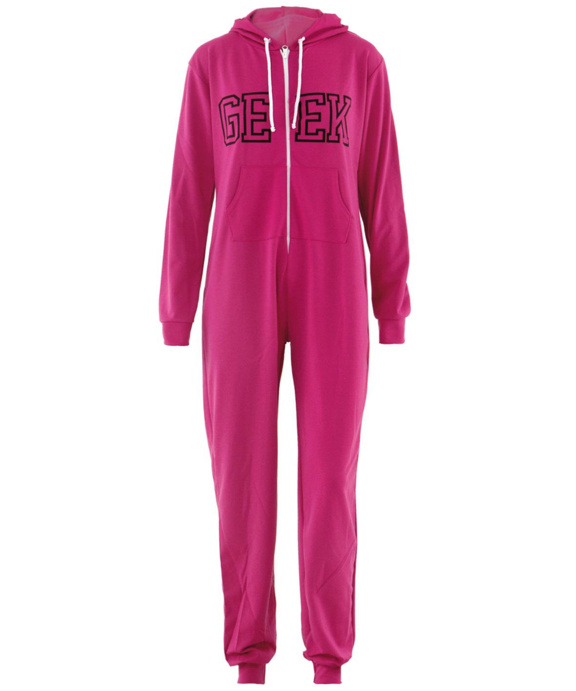 overall damen hausanzug kapuzenoverall geek druck onsie jumpsuit gr e 36 42 ebay. Black Bedroom Furniture Sets. Home Design Ideas