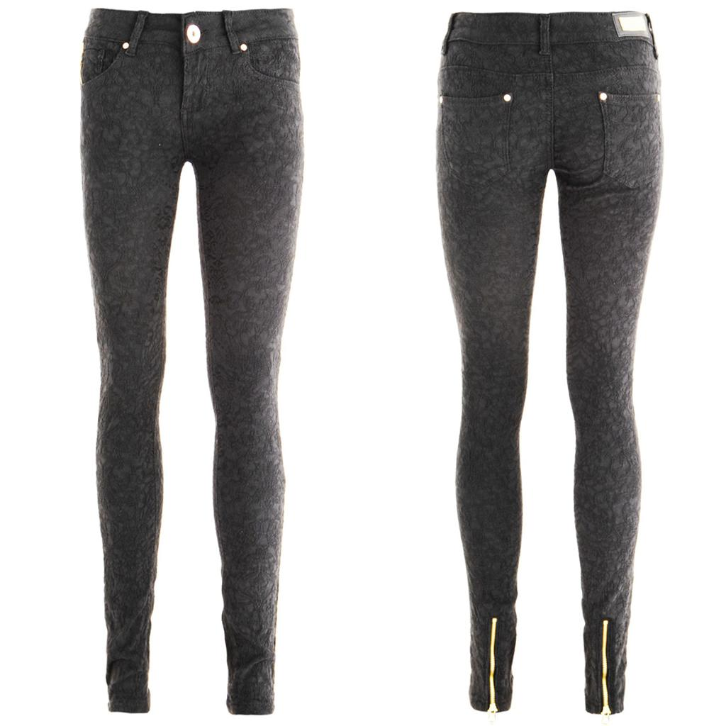 jeans damen hose barok stil eng grau rei verschluss unten. Black Bedroom Furniture Sets. Home Design Ideas