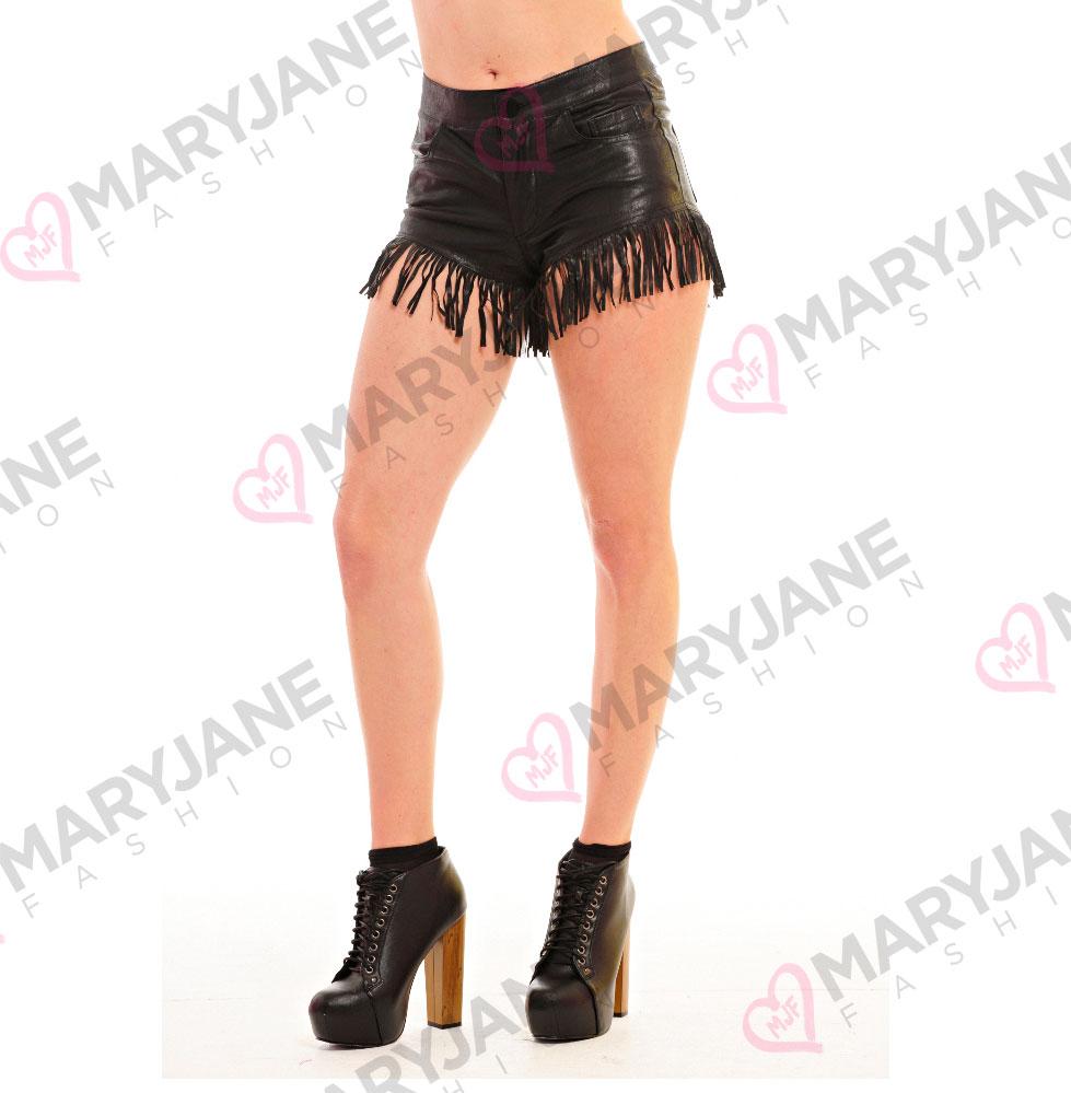 damen lederimitat fransen hot pants shorts kurze hosen. Black Bedroom Furniture Sets. Home Design Ideas