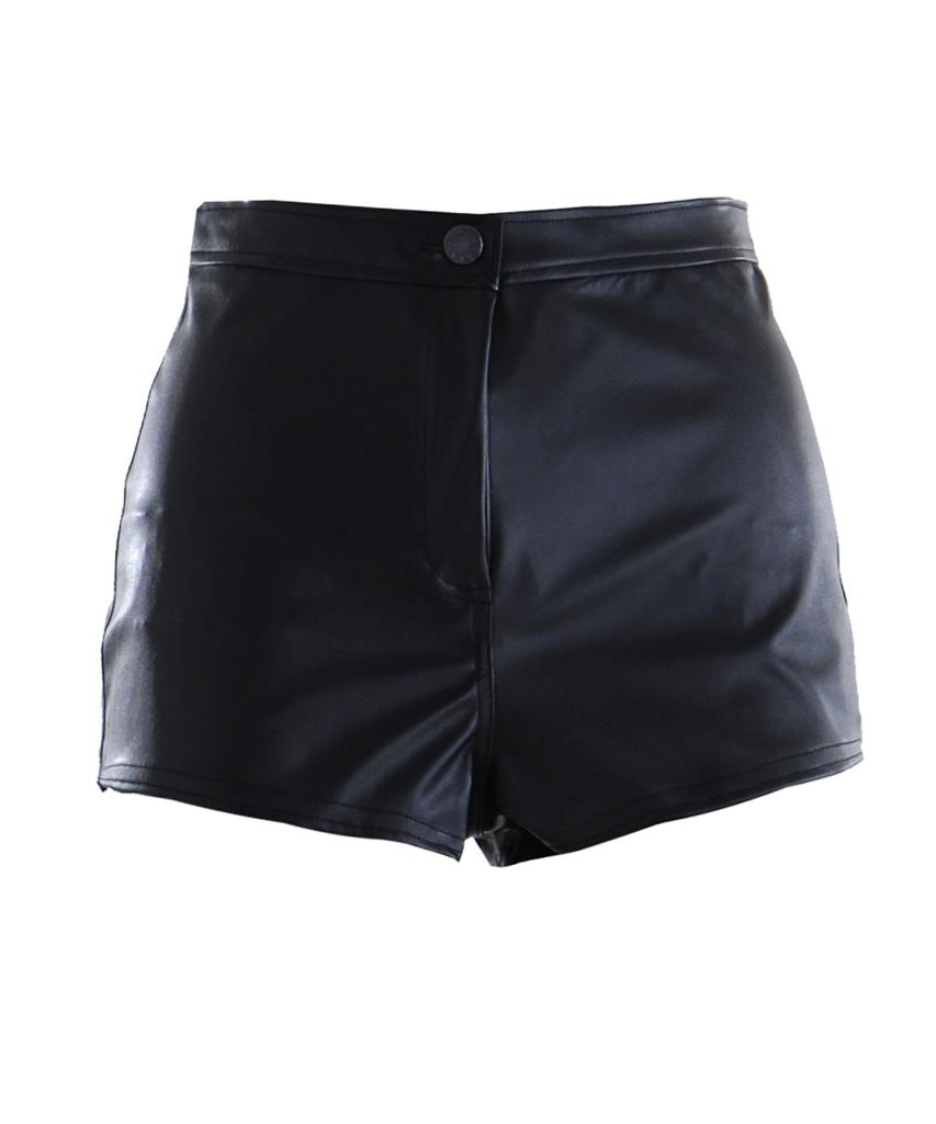 Womens-PVC-Leather-Look-Short-Button-Fastened-Pocket-Hot-Pants-UK-6-14