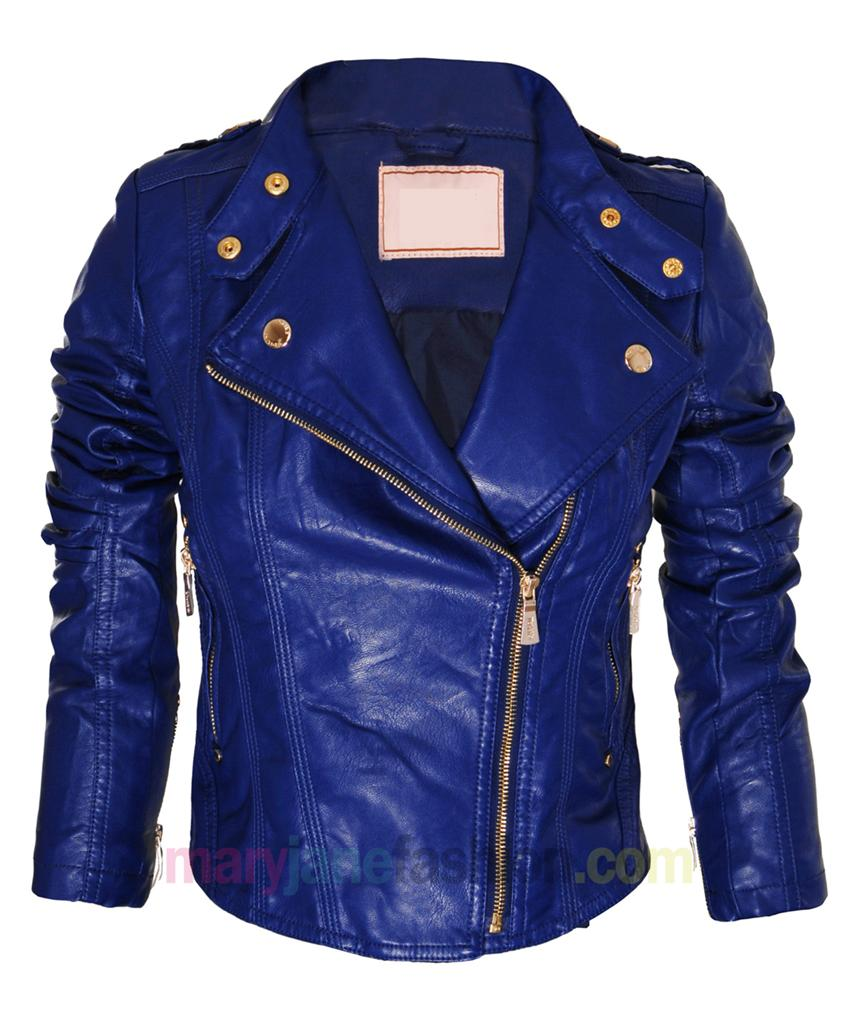Blue Leather Biker Jacket Womens Cairoamani Com