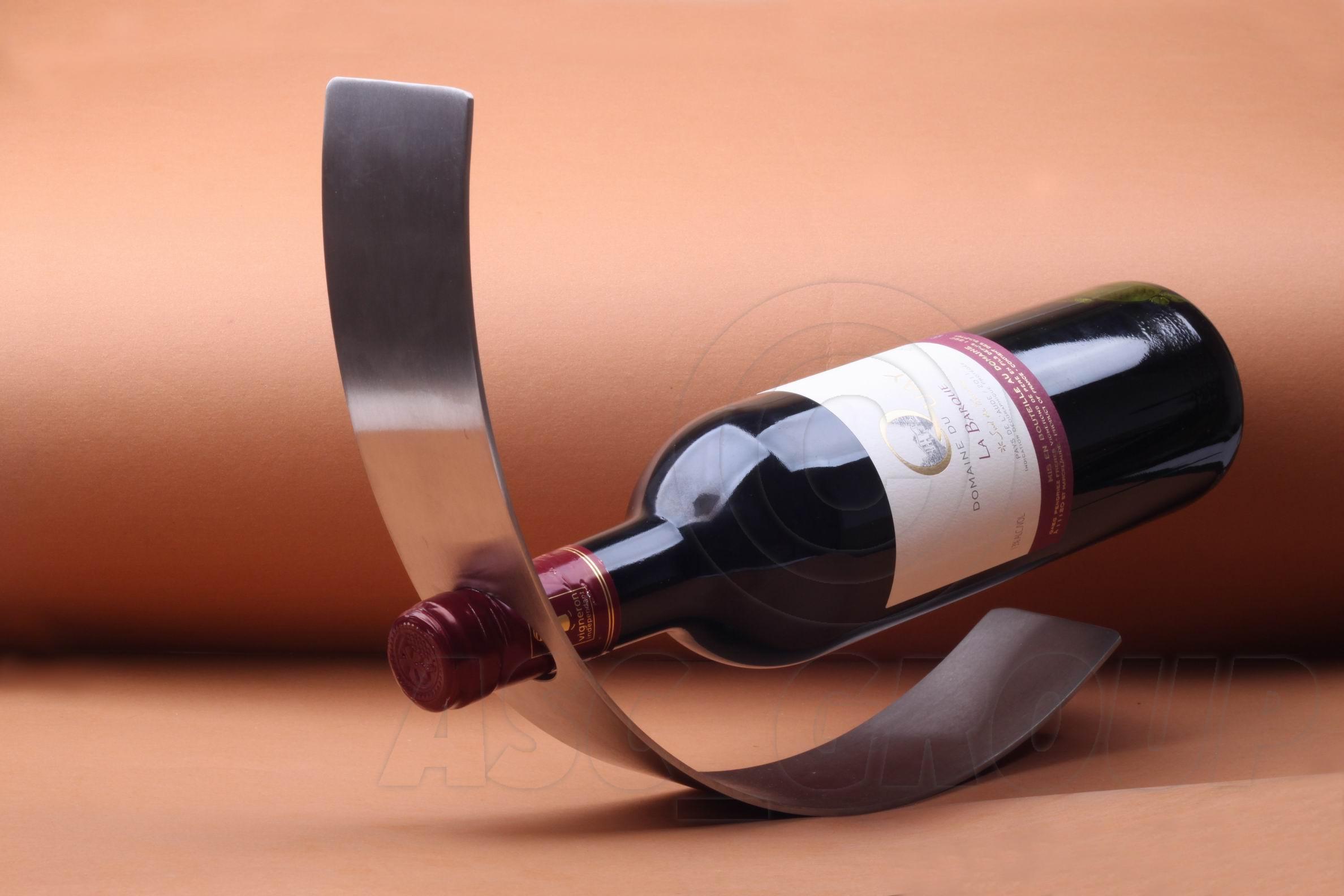 Curved metal wine bottle holder floating contempory art - Wine bottle storage angle ...