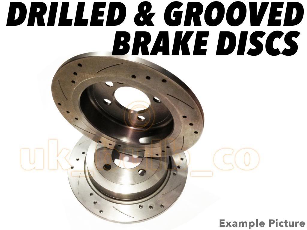 drilled grooved rear brake discs for subaru impreza estate 2 0 turbo gt 98 00 ebay. Black Bedroom Furniture Sets. Home Design Ideas