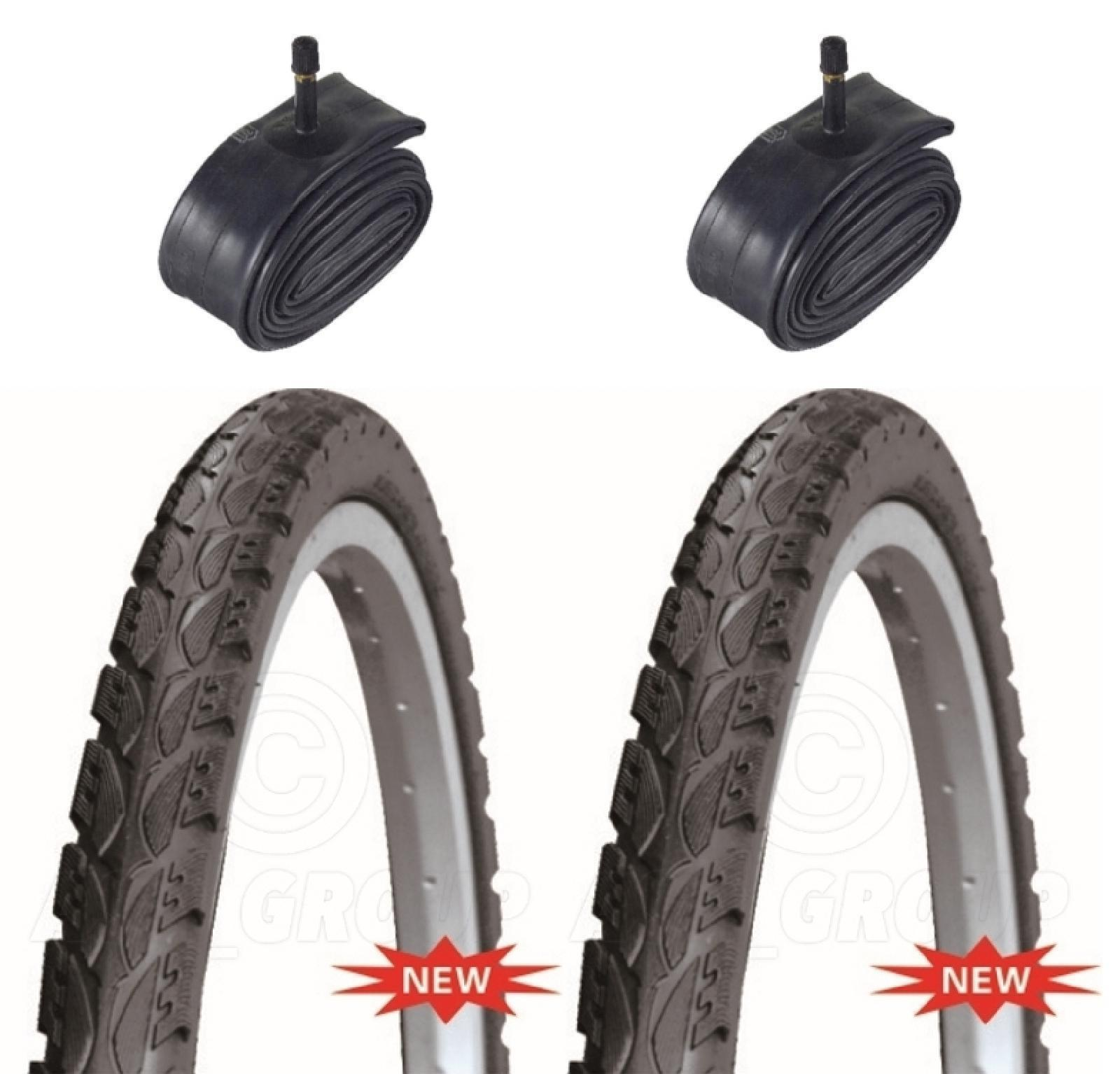 2 Bicycle Tyres Bike Tires - Road / Highway - 26 x 1.75 - With Schrader Tubes