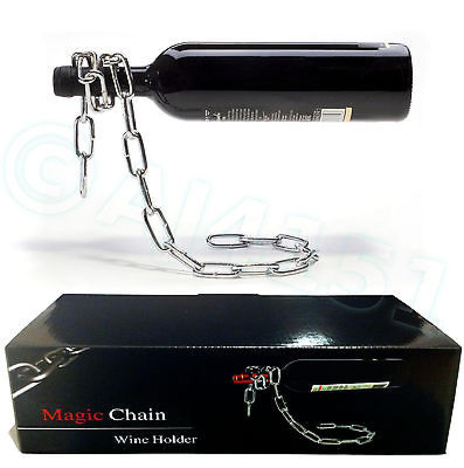 Floating Magic Chain Wine Bottle Holder Rack Illusion, Presentation Box FREEPOST