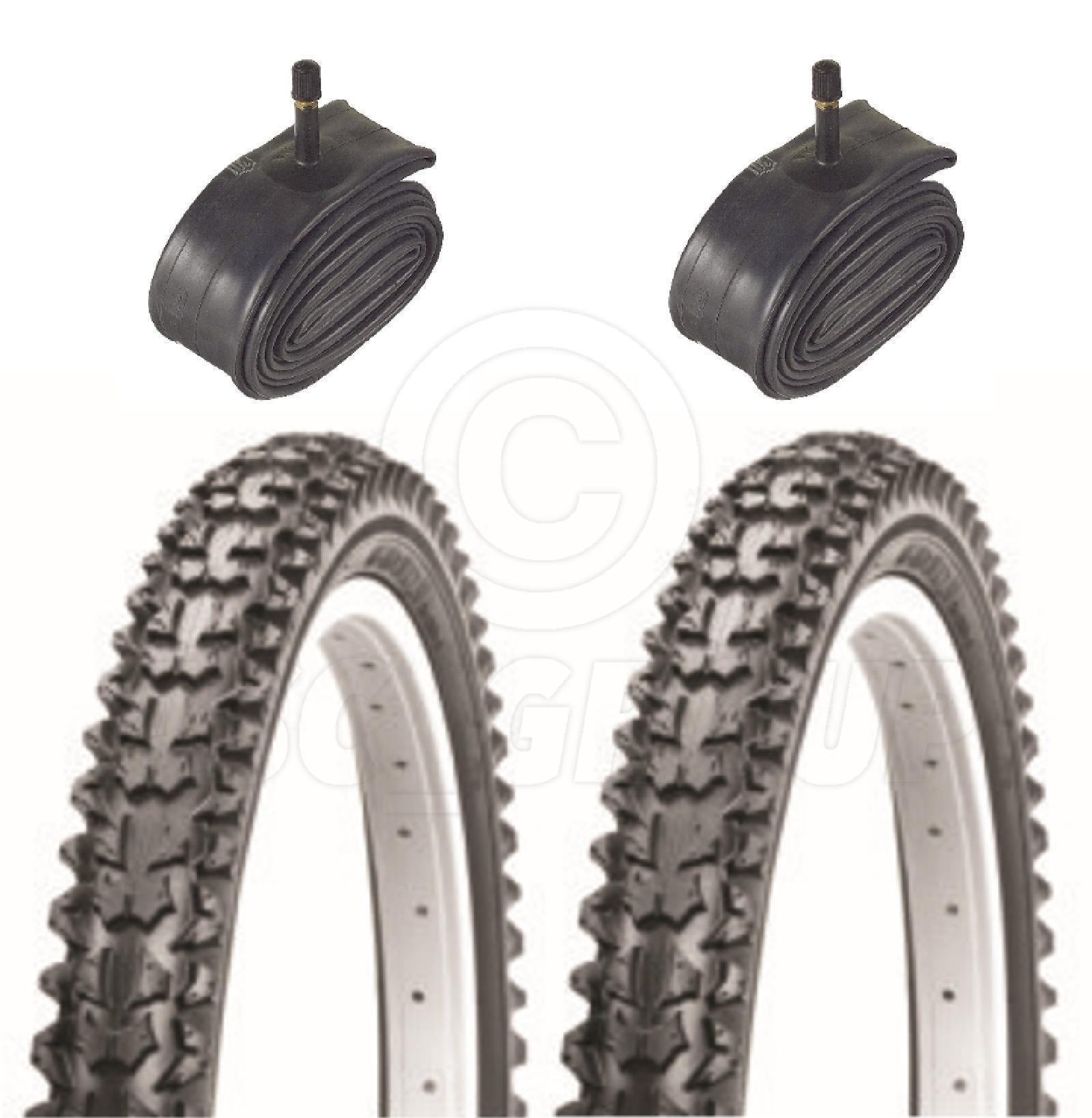 2 Bicycle Tyres Bike Tires - Mountain Bike - 26 x 2.125 - With Schrader Tubes