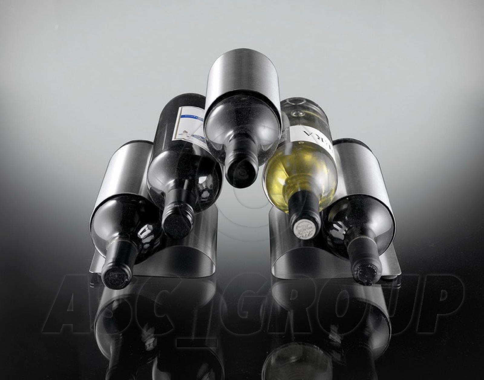 Curled Metal 5 Bottle Wine Bottle Holder Rack Modern