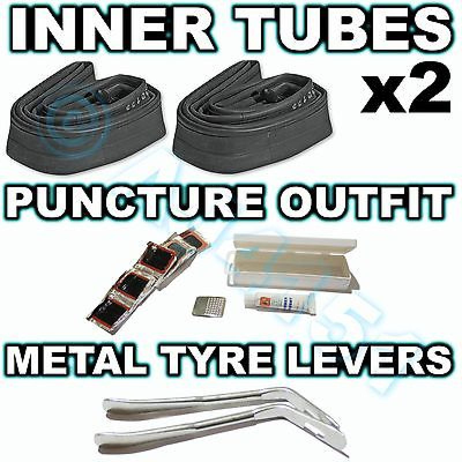 2 Inner tubes Puncture Outfit & Tyre Levers 10 11 12 14 16 18 20 24 26 700c ALL