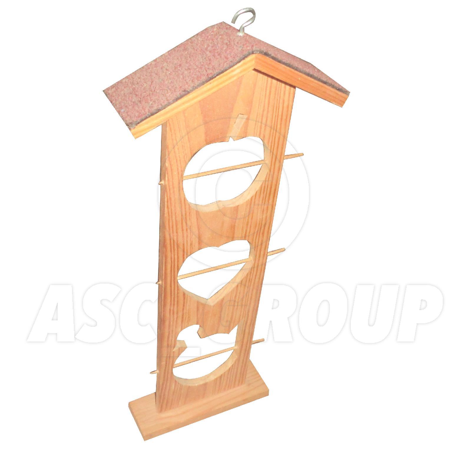 Details about 3 tier wooden bird feeder apple house
