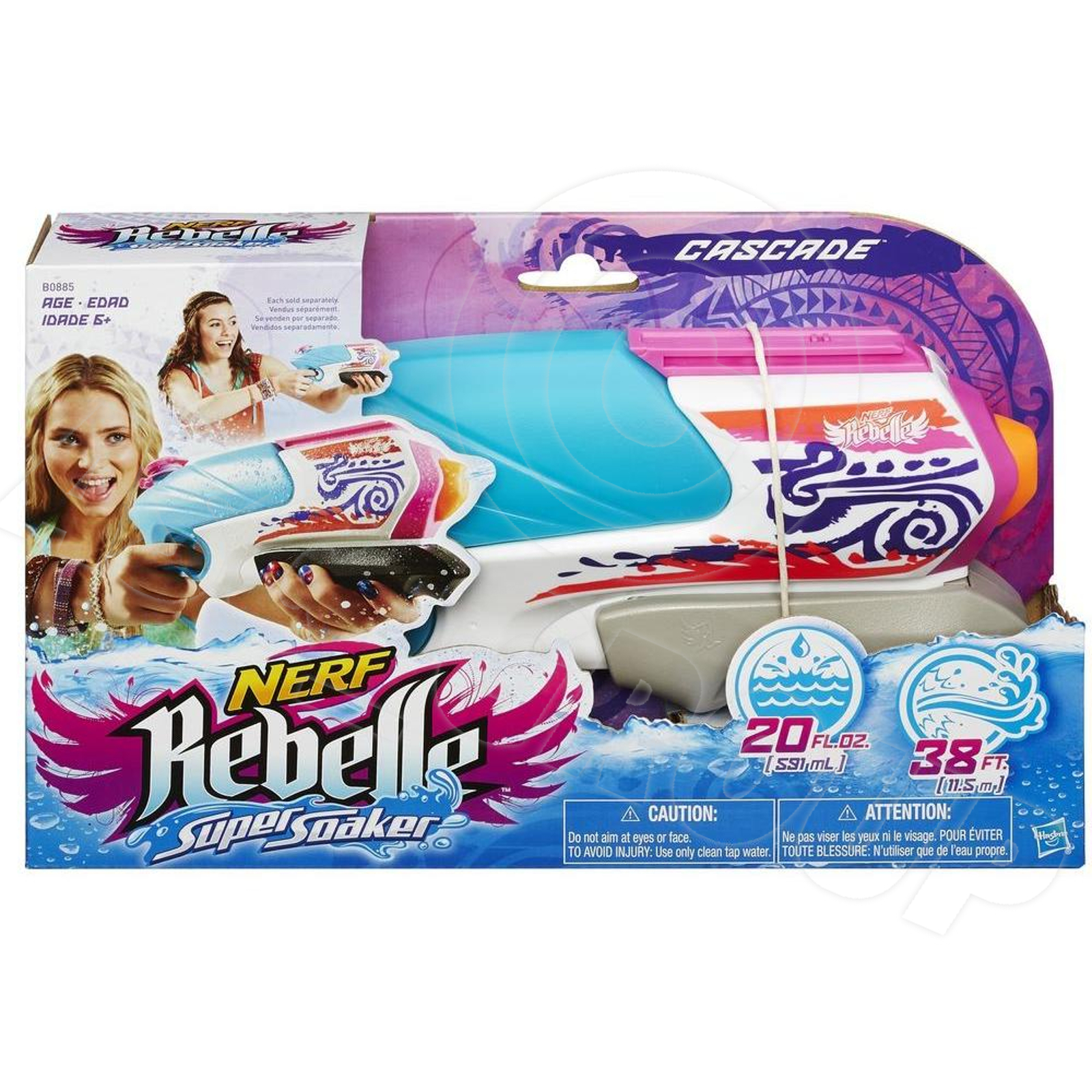 nerf rebelle super soaker cascade blaster water pistol. Black Bedroom Furniture Sets. Home Design Ideas